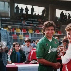 Pecci nello stadio del Cattolica, nell'amichevole Bologna - Superga. In quel Superga, squadra di 1° categoria, giocava anche il nostro Mauri, che all'epoca aveva 27 anni